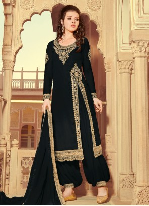 Faux Georgette Resham Black Designer Pakistani Suit