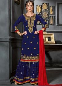 Faux Georgette Resham Blue Designer Palazzo Suit