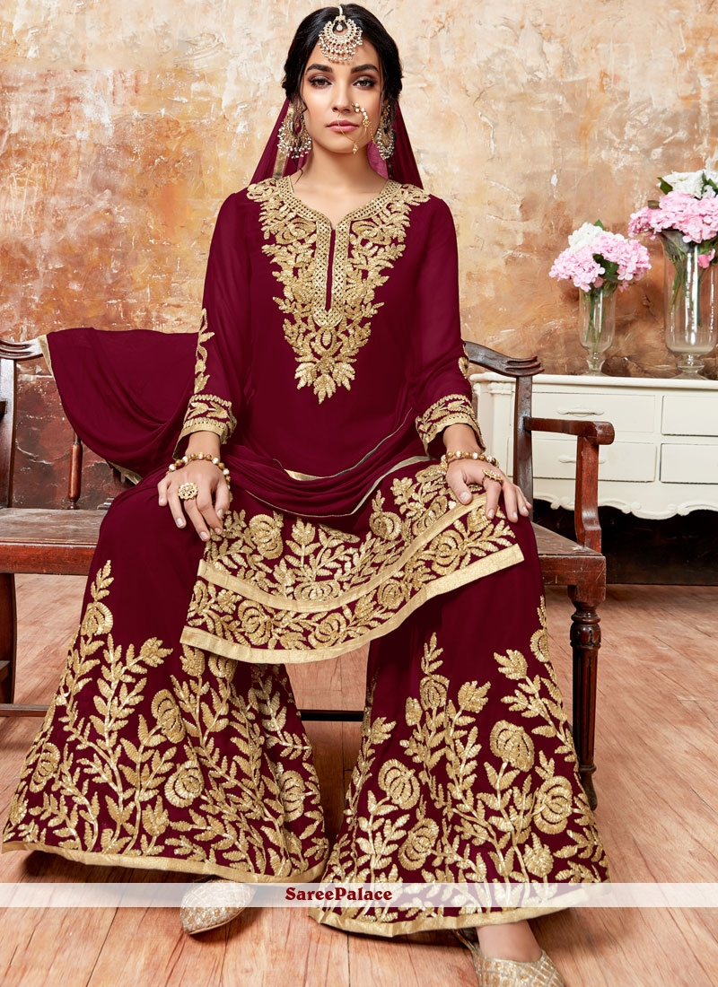 Maroon Faux Georgette Resham Designer Pakistani Suit