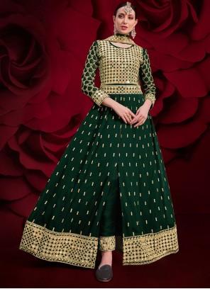 Faux Georgette Resham Floor Length Anarkali Suit in Green