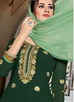 Faux Georgette Resham Green Designer Palazzo Suit