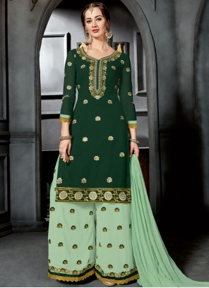 Faux Georgette Resham Green Designer Palazzo Suit