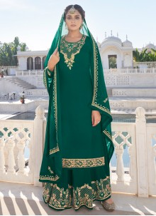Faux Georgette Resham Green Readymade Suit