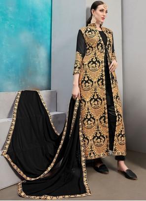 Faux Georgette Resham Jacket Style Suit in Black