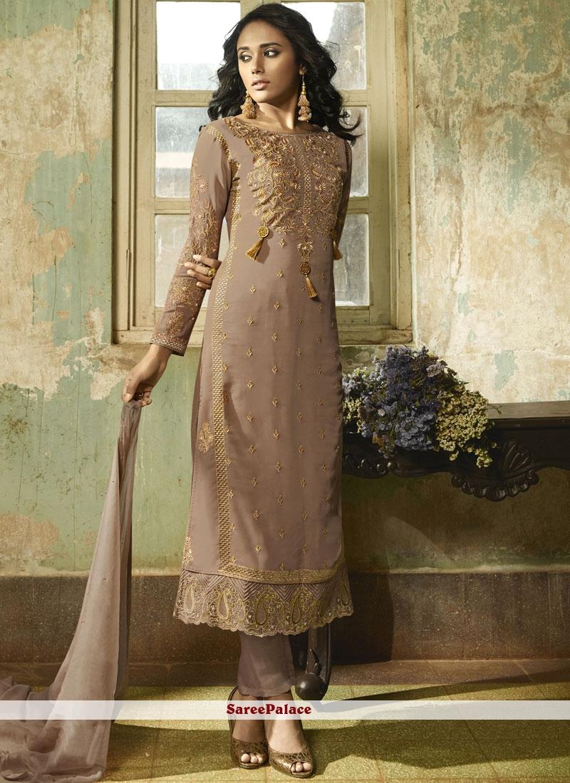 Faux Georgette Resham Mauve  Pant Style Suit