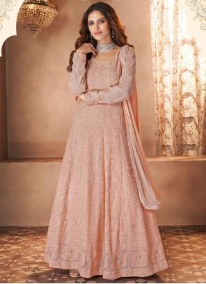 Faux Georgette Resham Pink Floor Length Designer Suit