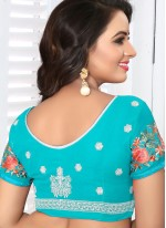 Faux Georgette Resham Saree in Blue