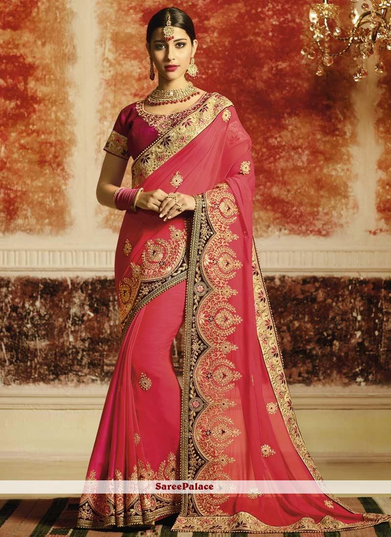 9ab399d59c13b Buy Faux Georgette Resham Work Classic Designer Saree Online