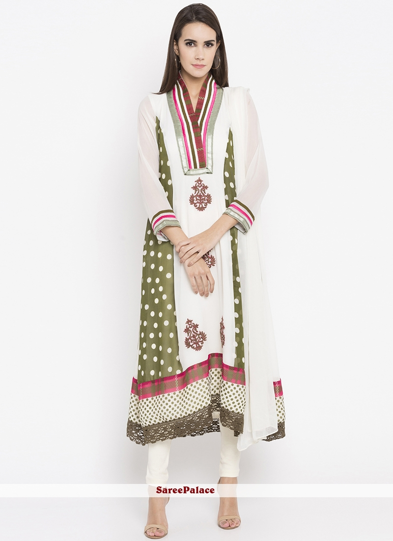 Faux Georgette Resham Work Readymade Suit