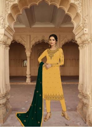 Faux Georgette Salwar Kameez in Yellow