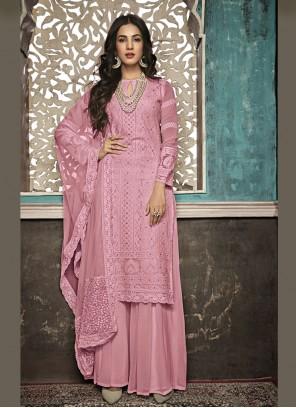 Faux Georgette Salwar Suit in Pink