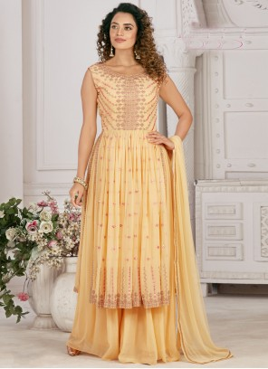 Yellow Faux Georgette Sangeet Designer Palazzo Salwar Kameez