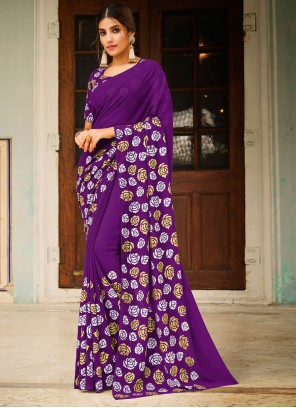 Purple Faux Georgette Abstract Print Saree