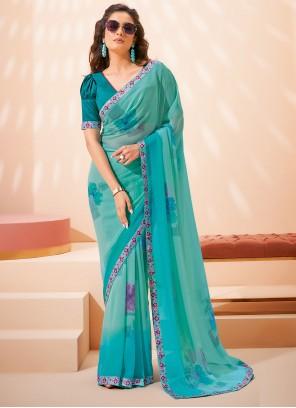Faux Georgette Printed Saree in Blue