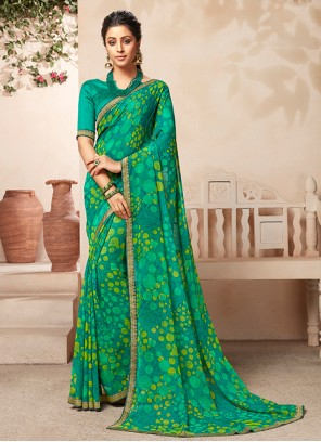 Faux Georgette Sea Green Abstract Print Casual Saree