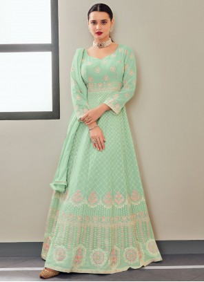 Faux Georgette Sea Green Embroidered Floor Length Anarkali Suit