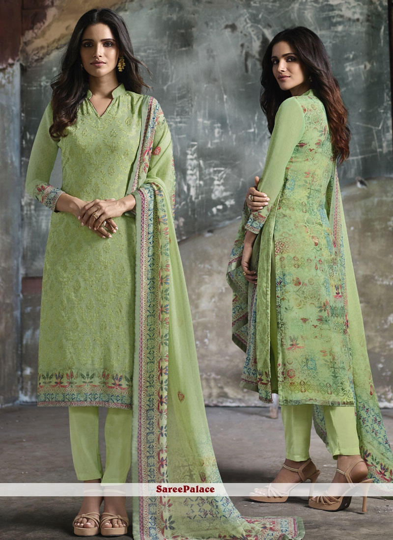 Faux Georgette Sea Green Print Pant Style Suit