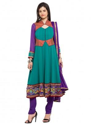 Faux Georgette Sea Green Readymade Anarkali Salwar Suit