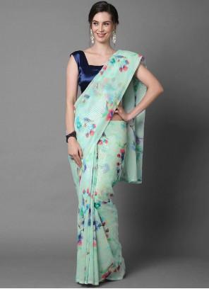 Faux Georgette Sequins Aqua Blue Classic Designer Saree