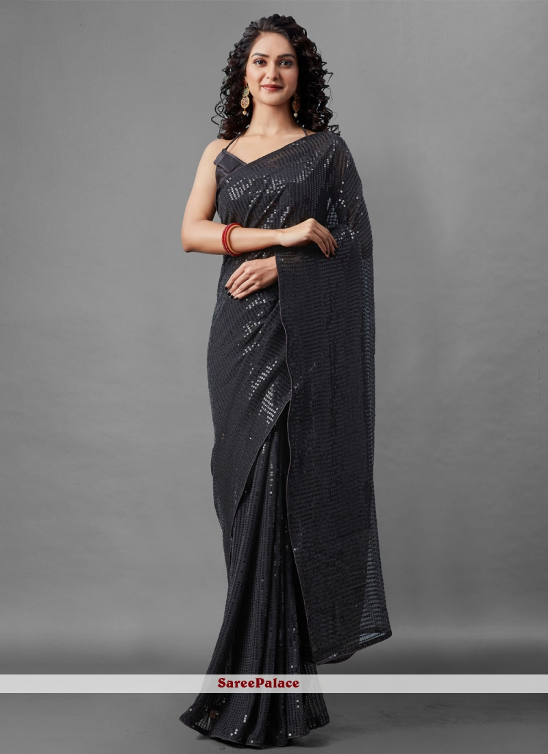 Faux Georgette Sequins Black Designer Saree