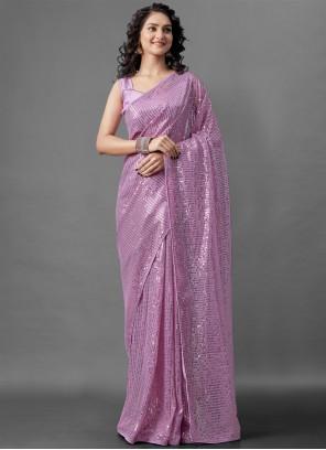 Faux Georgette Sequins Lavender Designer Saree