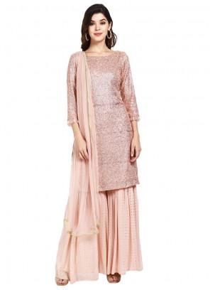 Faux Georgette Sequins Pink Designer Pakistani Salwar Suit