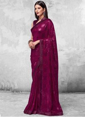 Faux Georgette Sequins Purple Designer Saree