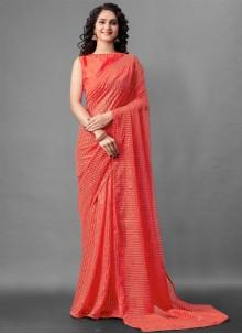 Faux Georgette Sequins Red Designer Saree