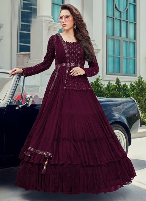 Faux Georgette Sequins Wine Anarkali Salwar Suit