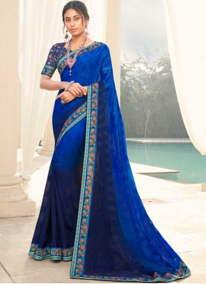 Faux Georgette Shaded Saree in Blue