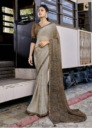 Faux Georgette Shaded Saree in Grey