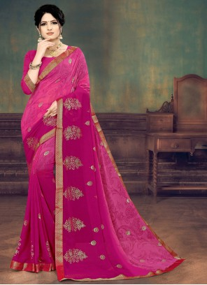 Faux Georgette Shaded Saree in Magenta
