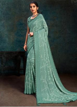 Faux Georgette Stone Blue Designer Traditional Saree