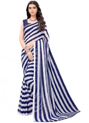 Blue Faux Georgette Stripe Print Saree