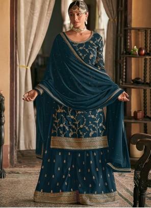 Faux Georgette Teal Embroidered Designer Pakistani Suit