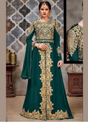 Faux Georgette Teal Embroidered Trendy Long Length Salwar Suit