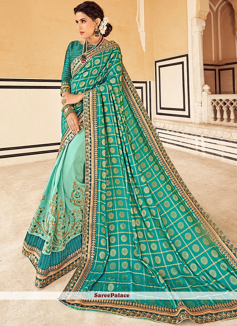 Faux Georgette Traditional Designer Saree in Blue