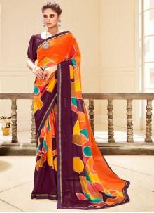 Faux Georgette Traditional Saree in Multi Colour