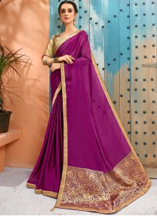 Faux Georgette Traditional Saree in Purple