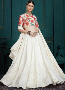 Faux Georgette Trendy A Line Lehenga Choli in White