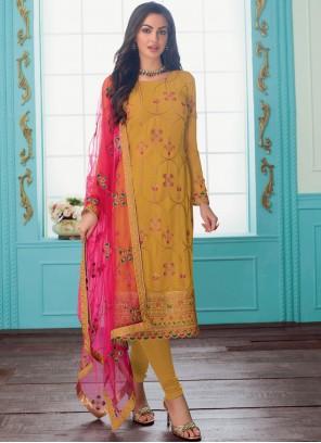 Faux Georgette Trendy Churidar Salwar Suit in Mustard