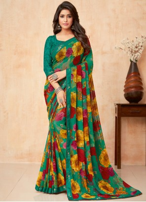 Faux Georgette Trendy Saree in Green
