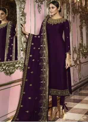 Faux Georgette Violet Embroidered Trendy Churidar Salwar Kameez