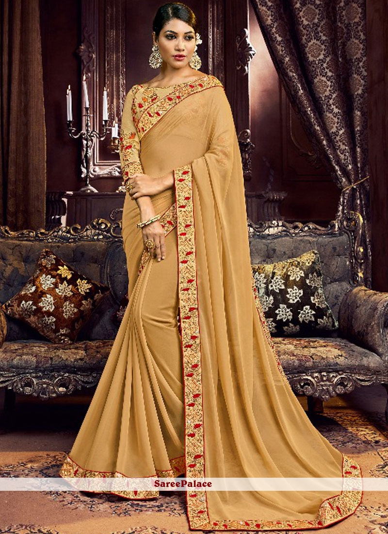 92efb8cd8f Buy Beige Faux Georgette Wedding Classic Designer Saree Online