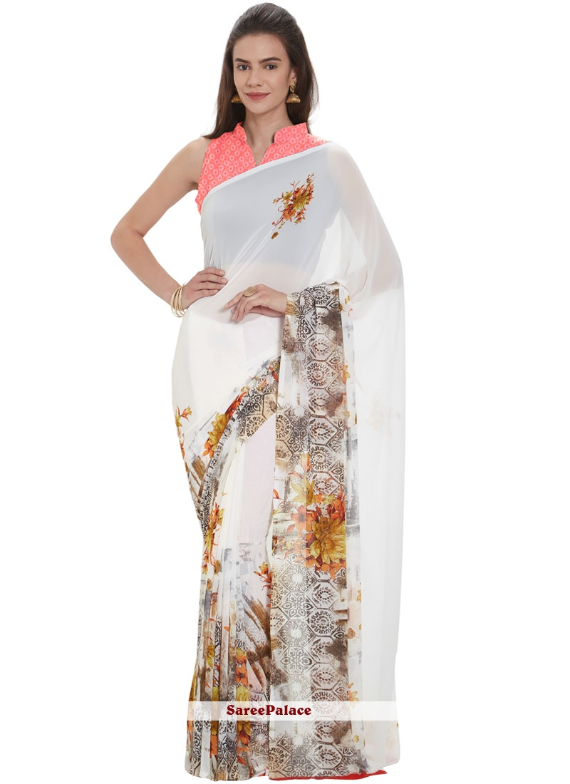 Faux Georgette White Printed Casual Saree