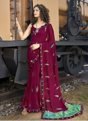 Faux Georgette Wine Abstract Print Casual Saree