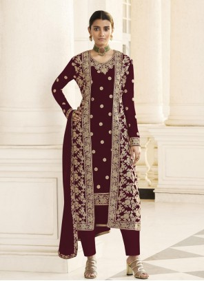 Faux Georgette Wine Embroidered Designer Pakistani Suit