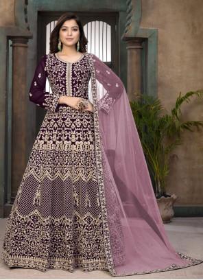 Faux Georgette Wine Floor Length Anarkali Suit