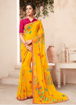 Faux Georgette Yellow Abstract Print Casual Saree