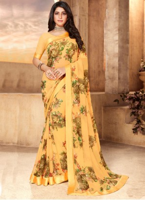Faux Georgette Yellow Abstract Print Classic Saree